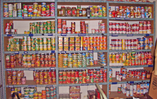 River of Life Mission's Food Pantry with Canned goods